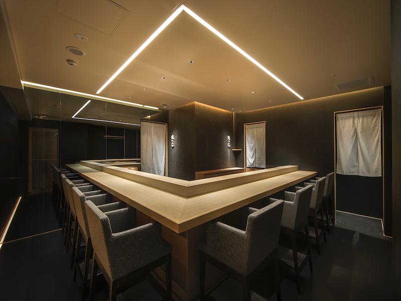 L字型の寿司屋のカウンターデザイン